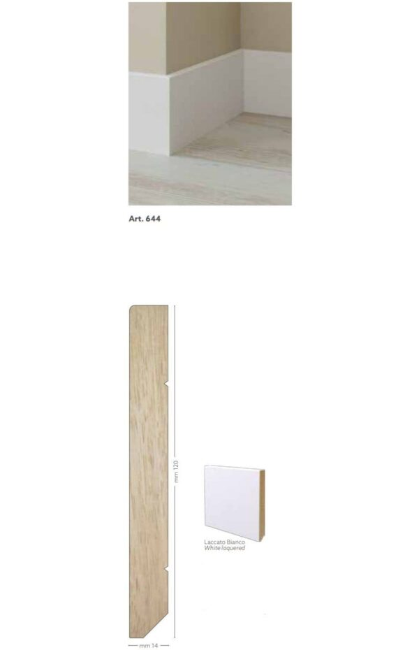 Battiscopa in legno ayous laccato bianco 120 x 14 mm lunghezza 2 metri Toscan Stucchi Art.644
