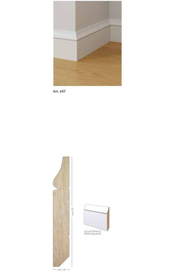 Battiscopa in legno ayous laccato bianco 95 x 14 mm lunghezza 2 metri Toscan Stucchi Art.657