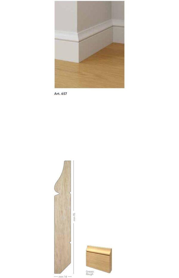 Battiscopa in legno ayous grezzo 95 x 14 mm lunghezza 2 metri Toscan Stucchi Art.657