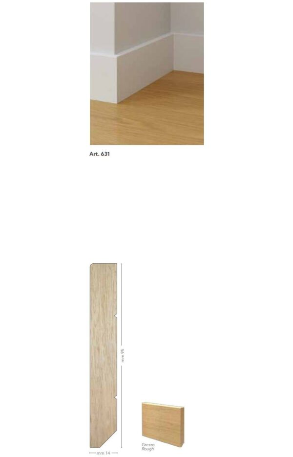 Battiscopa in legno ayous grezzo 95 x 14 mm lunghezza 2 metri Toscan Stucchi Art.631