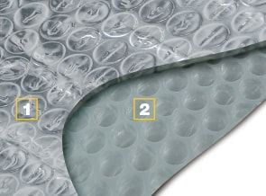 1-2. Bolla d'aria in polietilene ad alta grammatura dello spessore di circa 3 mm accoppiata ad un foglio di alluminio puro.