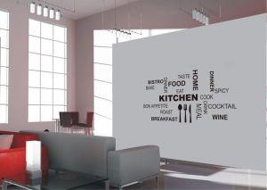 Sticker kitchen, cucina, sala, sala da pranzo per pareti in vinile nero 100x70cm Decorama - conf. 2 pz