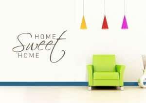 Sticker con scritta home sweet home per pareti in vinile marrone 100x70cm Decorama - conf. 2 pz