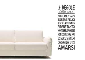 Sticker con scritta regole della casa per pareti in vinile nero 50x140cm Decorama - conf. 2 pz