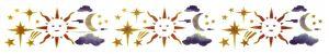 Stencil elettrostatico sole luna per pareti misura 70x12 cm Decorama
