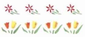 Stencil elettrostatico fiori per pareti misura 70x12 cm Decorama -conf. 3pz