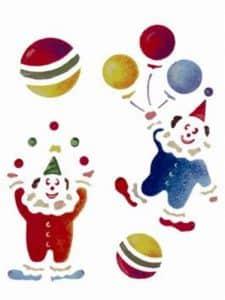 Stencil elettrostatico clown per pareti misura 18x24 cm Decorama -conf. 3pz