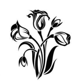 Stencil elettrostatico fiori per pareti misura 25x30 cm Decorama -conf. 3pz