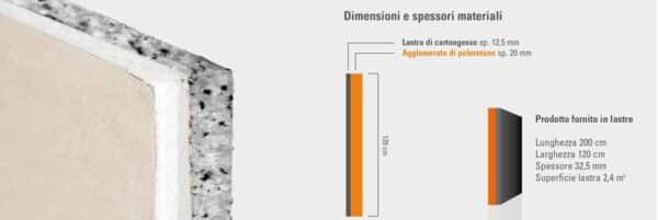 Lastra di cartongesso accoppiata a fiocchi di poliuretano per isolamento termoacustico 120x200 cm Aemix Wall
