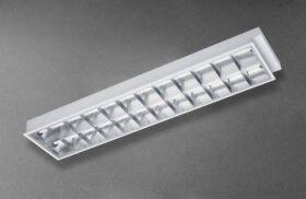 Plafoniera neon 2x18w 60x30 cm con riflettore in alluminio specchiato per controsoffitti a incastro Akifix Ceiling Stars