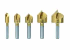 Set 5 frese in acciaio HSS placcate in titanio per trapano fisso o portatile su legno, plastica e alluminio Ribitech