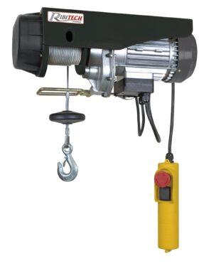 Paranco elettrico 1200 W con puleggia + carrucola + fissaggi per aggancio a supporto Ribitech