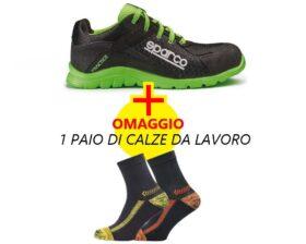 KIT scarpe antinfortunistiche Sparco Practice verde/nero + calze da lavoro IN OMAGGIO