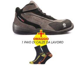 Scarpe antinfortunistiche s3 basse in pelle liscia e scamosciata sparco Racing EVO + calze da lavoro in OMAGGIO