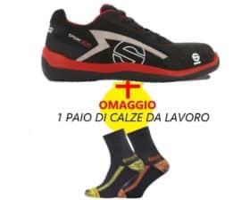 KIT scarpe antinfortunistiche basse impermeabili in pelle scamosciata Sparco Sport Evo S1P + calze da lavoro in OMAGGIO