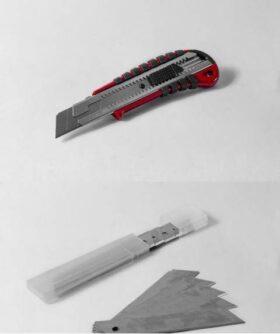 Cutter professionale con lama da 25 mm + 10 lame di ricambio
