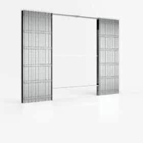 Controtelaio porta scorrevole doppia anta per intonaco luce passaggio 180x210 cm parete 90 mm ermetika evolution
