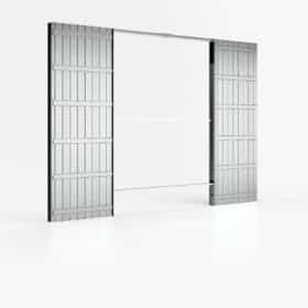 Controtelaio porta scorrevole doppia anta per cartongesso luce passaggio 140x210 cm parete 100 mm ermetika evolution