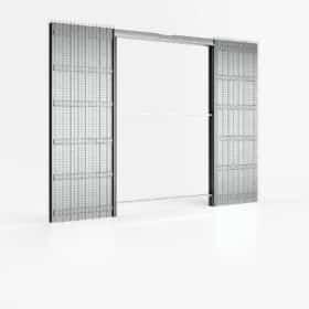 Controtelaio porta scorrevole doppia anta filo muro 120x210 cm per intonaco parete 107 mm ermetika absolute evo