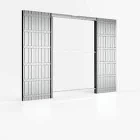 Controtelaio porta scorrevole doppia anta filo muro 140x210 cm per cartongesso parete 100 mm ermetika absolute evo