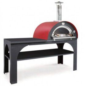 Forno a legna da esterno per pizza refrattario con piano di lavoro in metallo Clementi Pizza Party
