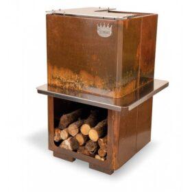 Barbecue da giardino a legna in acciaio corten 2 piastre in acciaio inox Clementi Dakota