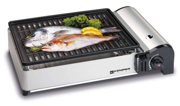 Barbecue a gas portatile da appoggio con griglia antiaderente e cartuccia gas butano Smart Barbecue PleinAir