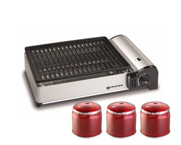 Barbecue a gas portatile da appoggio con griglia antiaderente + 3 cartucce gas butano Smart Barbecue PleinAir