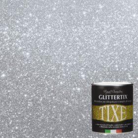 Glitter per pittura pareti in emulsione neutra Tixe Glittertix Argento 75 ml